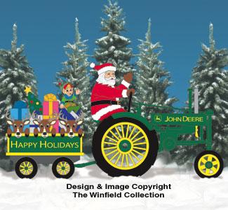 Deere Santa #2, Tractor and Wagon Pattern Set