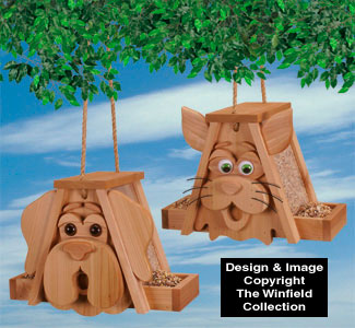 Cedar Cat and Dog Birdfeeders Wood Pattern