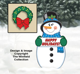 Snowman and Wreath Woodcraft Pattern