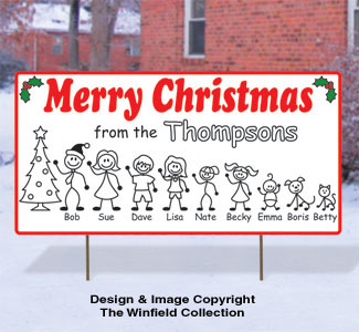 Stick Family Holiday Sign Pattern