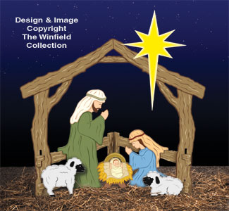 Colorful Small Silent Night Nativity Woodcraft Pattern