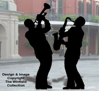 Sax and Trumpet Players Shadow Pattern