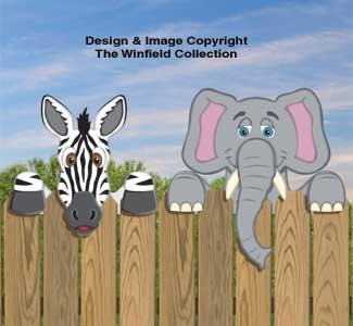 Zebra & Elephant Fence Peekers Wood Pattern