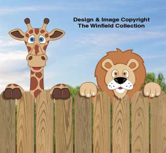 Giraffe & Lion Fence Peekers Wood Pattern