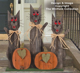 Pallet Wood Black Cats Pattern