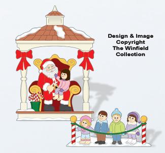 Christmas Village Visiting Santa Color Poster