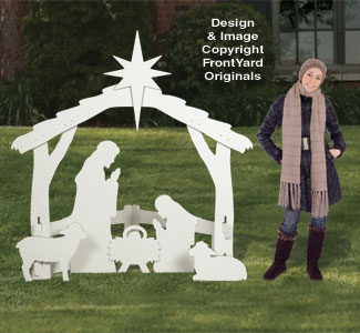 All-Weather Outdoor Large White Nativity Scene