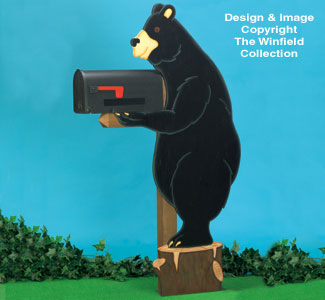 Bear Mailbox Post Cover Wood Pattern