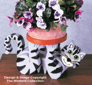 Playful Cat Plant Stand Wood Plan