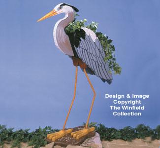 Blue Heron Planter Wood Pattern