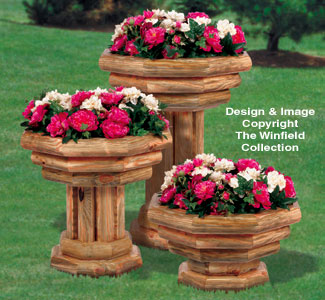Landscape Timber Pedestal Planter Trio Plan