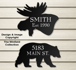Bear & Moose House Plaques Wood Pattern