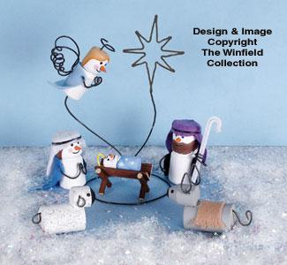 Miniature Snowman Nativity Woodcraft Pattern