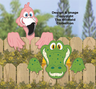 Gator And Flamingo Fence Peekers Wood Pattern