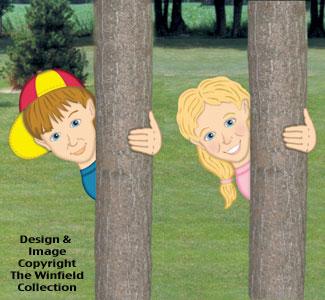 Peeking Boy & Girl Woodcrafting Pattern