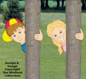 Peeking Boy & Girl Woodcrafting Pattern