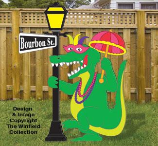 Mardi Gras Gator Woodcraft Pattern