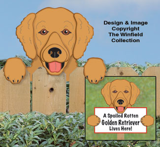 Golden Retriever Fence Peeker Pattern