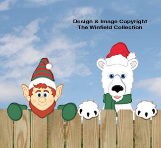 Elf & Polar Bear Fence Peekers Wood Pattern