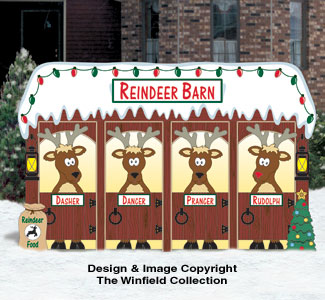 North Pole Reindeer Barn Color Poster