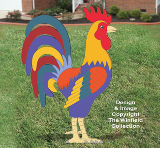 Giant Proud Yard Rooster Woodcraft Pattern