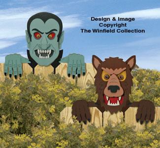 Vampire & Werewolf Fence Peekers Pattern