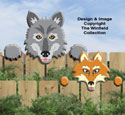 Wolf & Fox Fence Peekers Wood Pattern