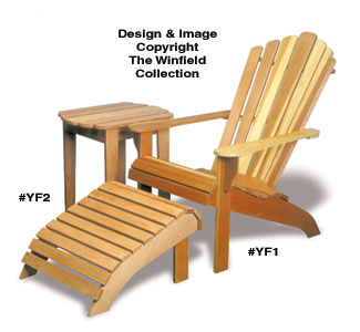Adirondack Chair, Table & Ottoman Wood Plans