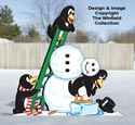 Penguins Building a Snowman Pattern