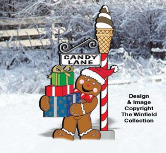 Gingerbread Candy Lane Sign Post Pattern