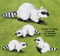 3D Raccoon Family Pattern