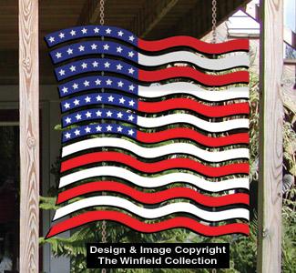 Patriotic Shade Screen Waving Flag Pattern